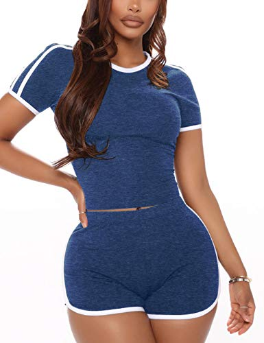 Cute Lounge Wear Outfits for Women 2 Piece Booty Shorts Blue XL