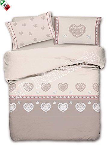 Daunex St Vincent Parure de lit en coton précieux avec Housse de couette 2 personnes Motif Tyrolien Cœurs Country Chic Fabriqué en Italie Beige