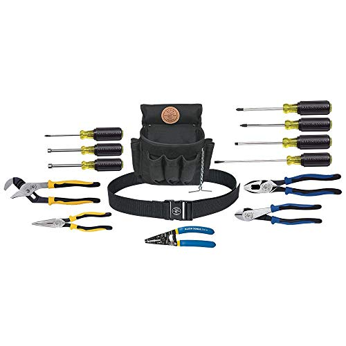 Klein Tools 92914 Tool Kit, 14-Piece Tool Set Includes Basic Tools, Pouch and Belt for Journeyman, Linesman, Professionals and Homeowners