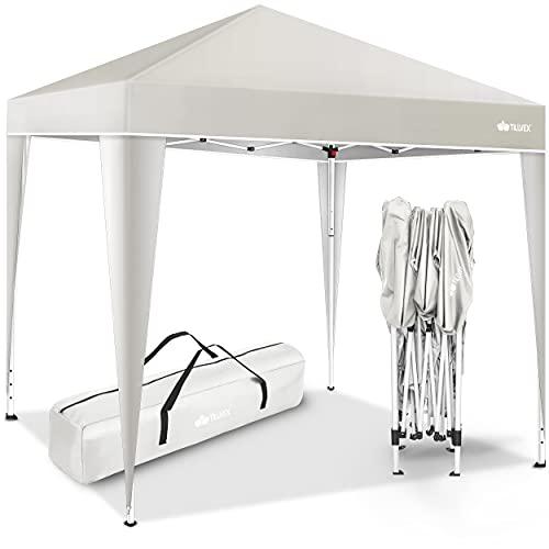 tillvex Pavillon 3x3m wasserdicht | Pop-Up Faltpavillon höhenverstellbar | Gartenzelt UV Schutz 50+ | Partyzelt mit Tasche für Garten (Beige)