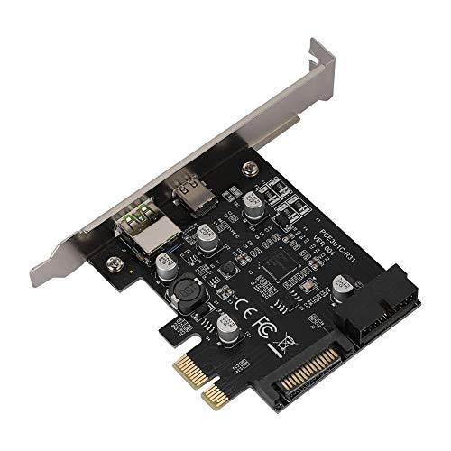 Zerone USB3.1 Typ C-Erweiterungskarte PCI-Express-Kartenadapter 5 Gbit/s USB-C-Konverterkarte Vorderseite BC1 Schnellladung
