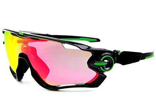 Queshark - Gafas de sol para ciclismo bicicleta, polarizadas, 3lentes