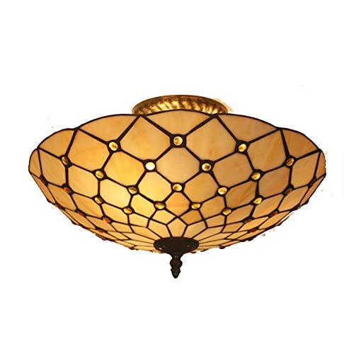 Yjmgrowing plafondlamp in Tiffany-stijl met gekleurde glazen scherm, inbouwlamp, half-gebruikt, voor slaapkamer, woonkamer, 110-220 V (zonder lampen)
