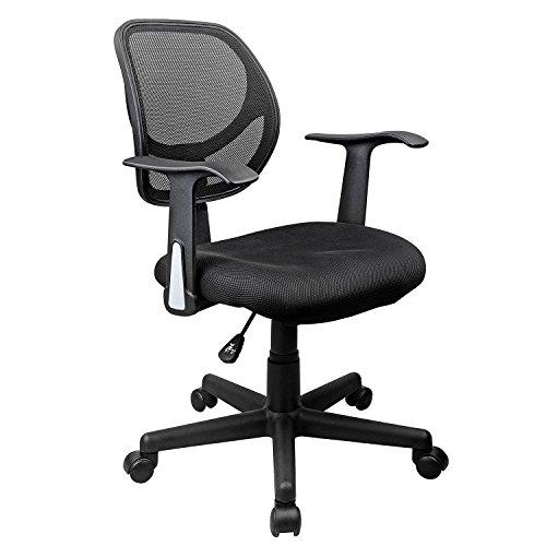 Homdox Mid-Back Mesh Chair,Adjustable Swivel Office Task Desk Chair w/Arms,Black