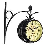 perfk Reloj de Pared de Doble Cara de Inspiración Vintage - Reloj Estilo Estación de Tren de Hierro Forjado de 5.5'con Decoración del Hogar de Mont
