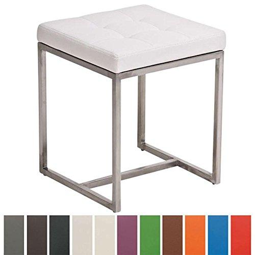 CLP Edelstahl-Sitzhocker BARCI mit Kunstlederbezug I Moderner Hocker mit hochwertiger Polsterung und Bodenschonern I erhältlich Weiß