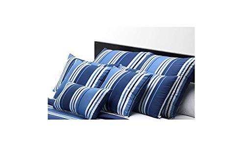Belnou Funda COJIN * Tacto Seda* Rayas Anchas Color Azul * 50 CM Alto X 70 CM Largo * Cont. 1 Funda