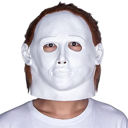 Mscara de Halloween, mscara de Halloween Disfraz de Asesino Mascotas Mscaras de Ghost Horror Cara Latex Mascarilla Halloween Devil Killer Casco (Color : White, Size : M)