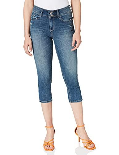 TOM TAILOR Damen 1024918 Kate Slim Capri Jeans, 10281-Mid Stone Wash Denim, 31
