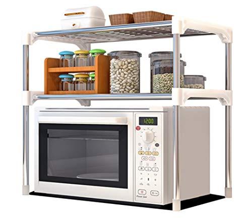 Bayli Mikrowellenregal mit 2 Ebenen | Halter für Mikrowelle | Küchenregal | Tischorganizer [56 x 30 x 50 cm] | Mini Backofen Halterung | Küchengeräte Regal für kleine Küche, Arbeitsplatte | Standregal