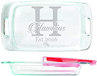 Engraved Glass Baking Dish with Lid 9x13 - Personalized - Script Name through Bold Monogram