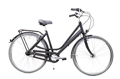 28 Zoll Alu Damen City Bike Shimano 3 Gang Nabendynamo Gepäckträger schwarz matt