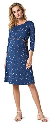 Noppies Damen Dress nurs 3/4 SLV Nadena Kleid, Mehrfarbig (Dark Denim AOP P125), 42 (Herstellergröße: XL)