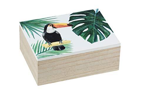 WENKO Aufbewahrungsbox M Tucan - Badbox, Badkorb, MDF, 20 x 8 x 15 cm, Mehrfarbig