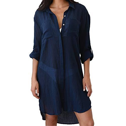 PANAX Luftiges Damen Blusenkleid in Dunkelblau - Strandponcho Ideal für den Urlaub, Sommer, Bikini, Badeanzug, Pool, See