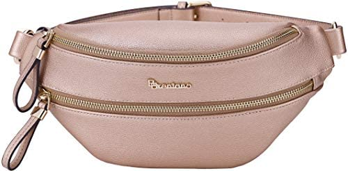 B BRENTANO Vegan Leather Fanny Pack Waist Purse with RFID Blocking Rose Gold product image