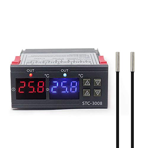 ATNEETDual Digital Incubator Thermostat Temperature Controller Output Thermoregulator Heating 12V Photo Color