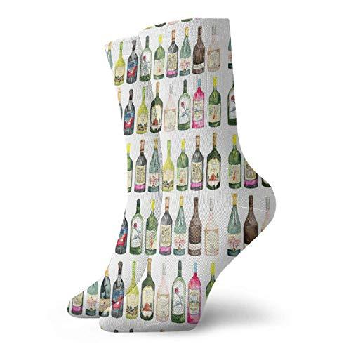 Cheers Botellas de vino calcetines clásicos de ocio deporte calcetines cortos 30cm/11.8inch adecuado para hombres mujeres