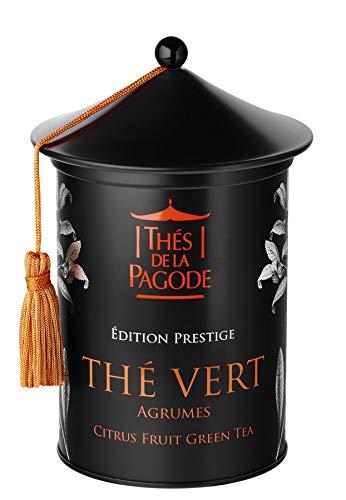 Grüner Tee mit Zitrusfrüchten von La Pagode Tee | Prestige Ausgabe - Schachtel mit 100 Gramm | Antioxidantien und Schlankheitsmittel - Parfümierter Geschmack