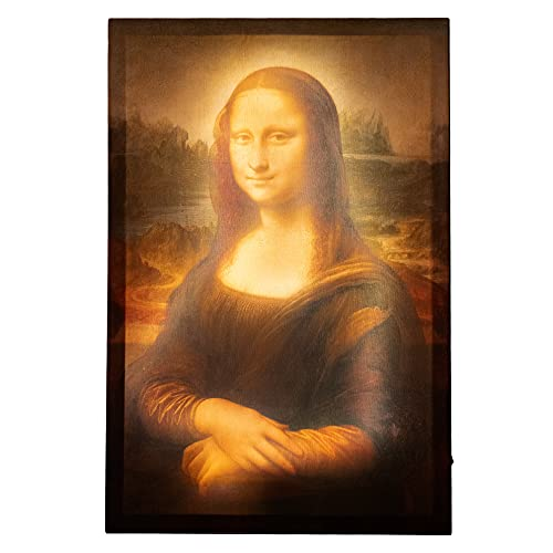 JaZoo LED Wall Art – 24 x 16 Inches Canvas Wall Art Mona Lisa by Leonardo da Vinci – Durable MDF Backboard with LED Strips – High Resolution Printing – Gorgeous Ambiental Light for Home Decor, Office