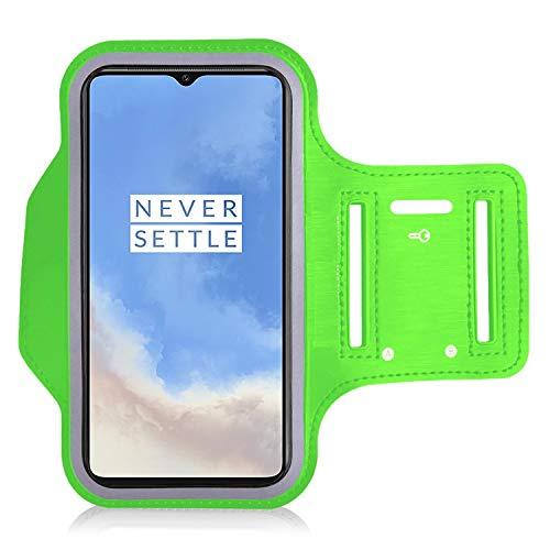 iPro Accessories Funda Oneplus 6T/7T/9/9 Pro/9R para Oneplus 6T/7T/9/9 Pro/9R Brazalete para brazalete a prueba de sudor con auriculares para correr y soporte para llaves y correa de extensión (verde)
