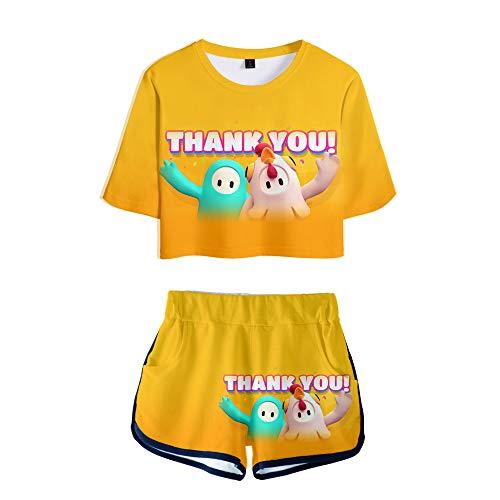 De.Pommeyeux Fall Guys 2 Stück Sets Frauen Kurz & Top Sets 3D Kawaii Mädchen Sexy Hip Hop Spiel Cosplay Shirt Gr. Small, K06248