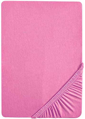 biberna 0077155 Spannbetttuch Jersey (Matratzenhöhe max. 22 cm) 1x 90x190 cm > 100x200 cm pink