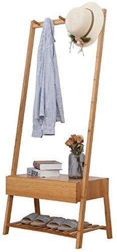YLCJ Houten kapstok, met twee niveaus, lade, schoenenrek, veelzijdig inzetbaar, stang, hal, slaapkamer, organizer A-62 x 39 x 155 cm