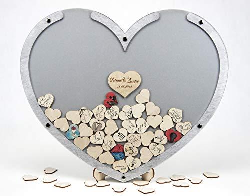 Laserano Edles Hochzeitsgästebuch, Herzform, Silber, Holz Herzchen - Personalisierbar mit Wunschgravur (Dekor Silber, L - 50 x 40 cm)