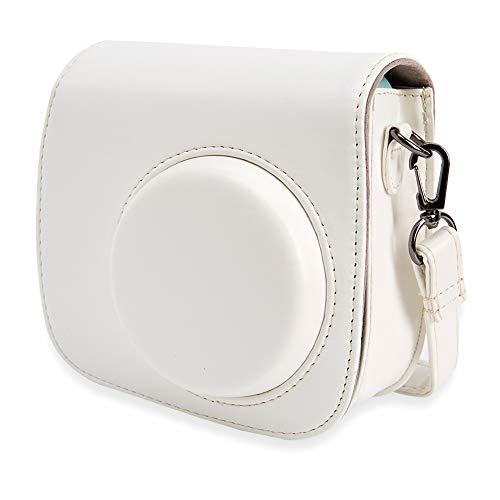 Annle Tasche für Fujifilm Instax Mini 8 / Mini 9 Sofortbildkamera aus Weichem Kunstleder mit Schulterriemen und Tasche (Weiß A)