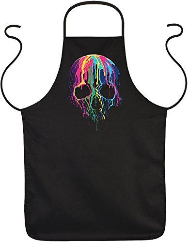 Super coole Schürze in schwarz mit hochwertigem Neon Motiv: Melting Skull - bunt verlaufener Totenkopf