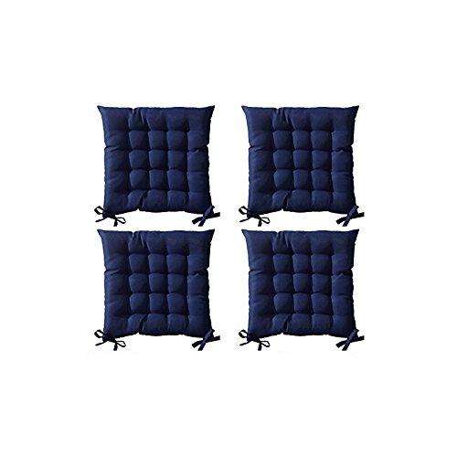 Lot de 4 Galettes de chaise à assise matelassée unie - Bleu foncé - 40x40x5cm - Today