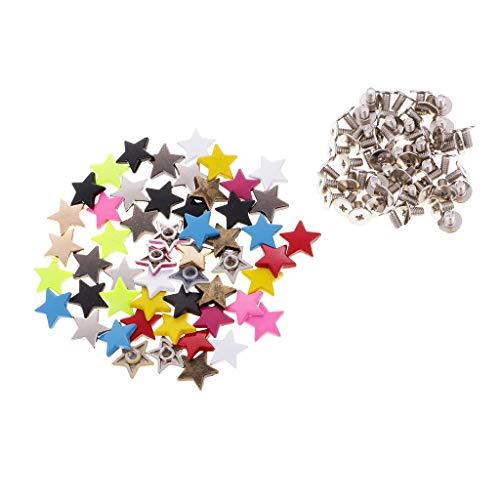50 juegos de tachuelas de tornillo de aleación de colores estrella pentagrama remaches artesanales de cuero DIY