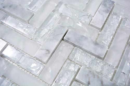 Piastrelle a mosaico Transluzent, bianco, per pesce, mosaico in vetro, pietra bianca MOS87HB-0111_m