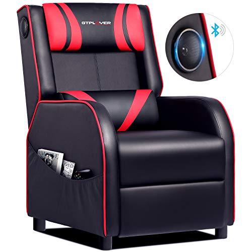 GTPLAYER Gaming Sessel Stuhl Single Wohnzimmer Sofa Recliner PU Leder Recliner Sitz Heimkino Sitz Rückenlehne Verstellbarer Drehsessel mit Lautsprecher rot