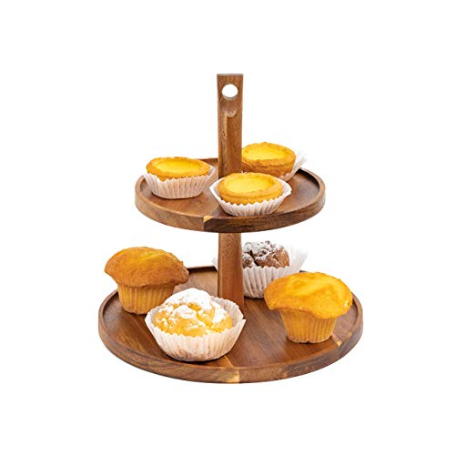 Unwilt - 2 Tier Tray - Cake Decorating Tools - Wooden Serving Tray - Bamboo Tiered Tray - Cake Stands for Dessert Table - Acacia Wood Tiered Cake Display - Tea Party Decorations Tool