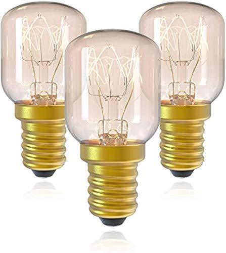 YPLDM E14 Edison Light Bombilla, Bombilla de la lámpara de Sal 15W, T25 Bombilla de Nevera de Tornillo pequeño, bulbos de electrodomésticos de múltiples Aplicaciones, 3 Pack,Clear