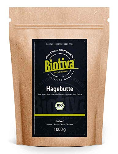 Hagebuttenpulver Bio 1 kg - EU Ernte - Rosa Canina - Rohkostqualität - aus ganzen Hagebutten in Deutschland frisch gemahlen - abgefüllt und kontrolliert in Deutschland (DE-ÖKO-005)