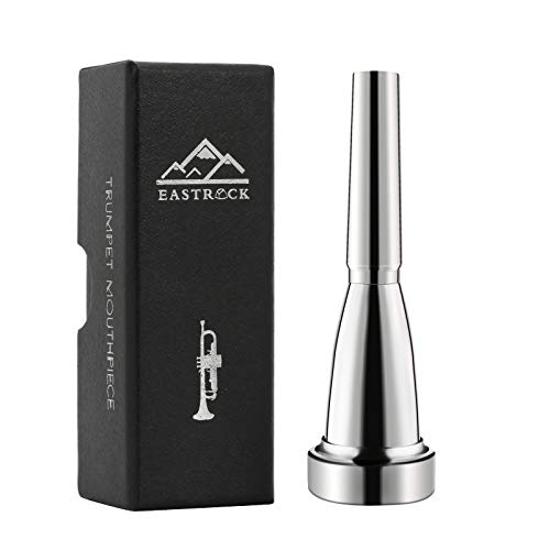 EASTROCK Trumpet Mouthpiece 3C Silver Plated Bullet Shape Vaccum Package