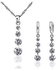 Parure di gioielli in argento 925 da donna, collana e orecchini con zirconi, regalo per donna