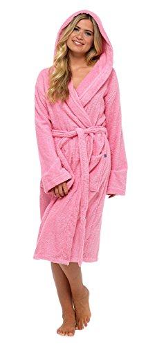 Damen-Bademantel, 100% reine Baumwolle, Luxus-Frottee-Bademantel mit Gürtel und Taschen, Nachtwäsche für Damen und Mädchen Gr. S, Pink - Hooded
