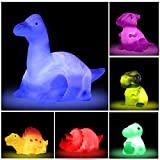 Dinosaur Bath Toys Light Up Floating Rubber Toys(6 Packs),Flashing Color Changing Light in Water,Baby Infants Kids Toddler Child Preschool Bathtub Bathroom (Colorful A)