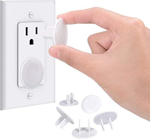 Adoric Life Outlet Covers Set of 50, Baby Proofing Outlet Plug Covers with 2 Pack Free Cabinet Safety Locks, Best Wall Outlet Protection Kit for Child Safety