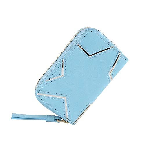 5GHjkj Neue einfache Art Damen Geldbörse Kleine frische fünfzackige Sternenkarte Kleine Brieftasche Clutch (Farbe : Blau)