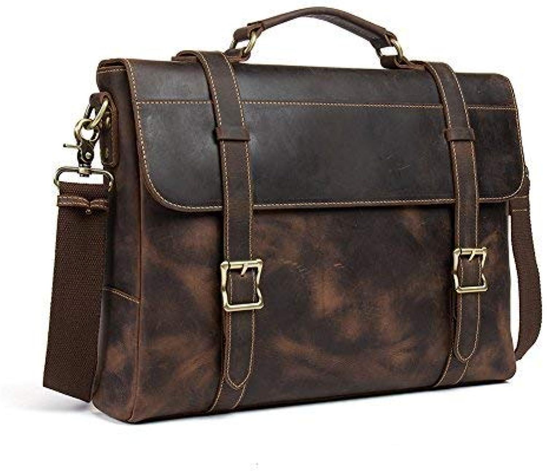 WESTBRONCO Leather Briefcase Business Messenger Satchel Travel Laptop Bag for Men Brown