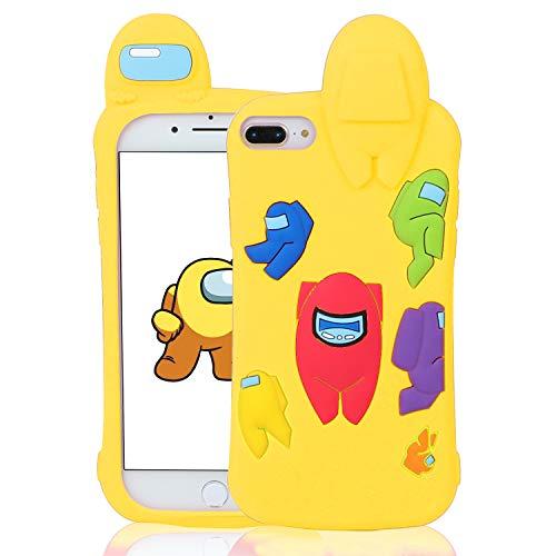 Darnew Yellow Among Custodia per iPhone 6 Plus 7 Plus 8 Plus Casi, Cartone Animato Carino Morbido TPU Freddo Divertimento Divertente Cover per Bambini Ragazze Donne Custodia per iPhone 8 Plus
