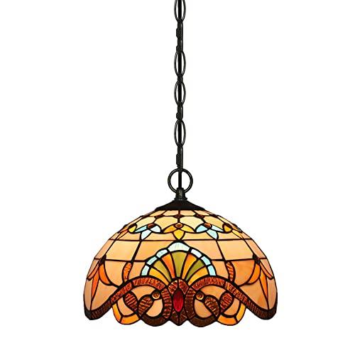 FAJOPQW Iluminación Colgante De Estilo Barroco, Lámpara De Techo Ajustable con Vidrieras, Accesorios De Iluminación Colgantes Retro Europeos
