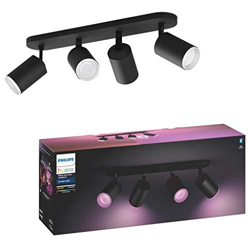Philips Hue White and Color Ambiance Fugato 4 focos LED Inteligentes, negro, GU10, 5.7 W, luz blanca y de colores, compatible con Bluetooth y Zigbee, funciona con Alexa y Google Home