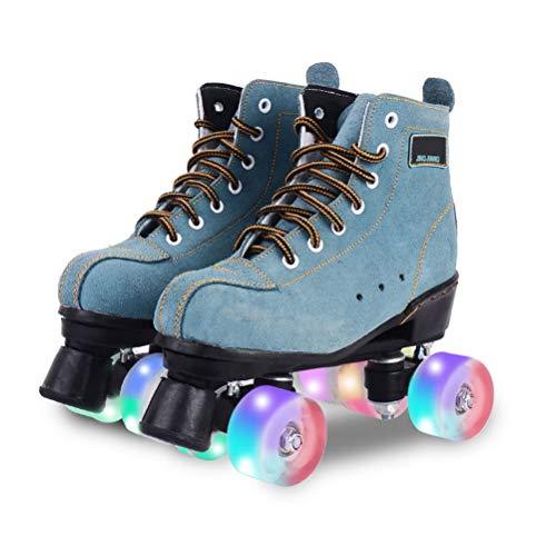 WING Classic Suede Rollerskates Artistic Quad Rollschuhe, Retro Discoroller für Erwachsene, 4 Wheel Rollschuh mit LED-Licht für Damen Erwachsene und Jugendliche,41