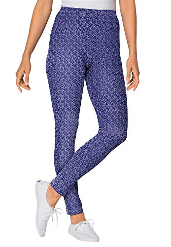 Woman Within Women's Plus Size Stretch Cotton Printed Legging - 1X, Navy All Over Ditsy